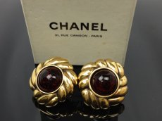 Photo1: AUTH CHANEL Jwelry stone motif Gold tone EARRINGS VINTAGE 7A110430N (1)