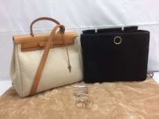 Photo1: Hermes Her bag 2 way Black & White Canvas Bag Without Lock 8C240040n (1)