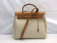 Photo2: Hermes Her bag 2 way Black & White Canvas Bag Without Lock 8C240040n (2)