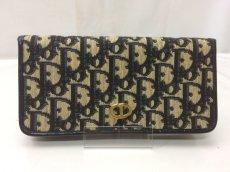 Photo1: Auth Christian Dior Trotter Pattern Cotton Canvas Bifold Wallet 9C060100m (1)