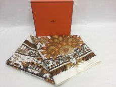 Photo1: Authentic Hermes Brown Printed 100% Silk Scarf UNUSED 9L050010n (1)