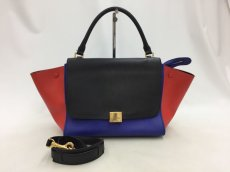 "Photo1: Auth Celine Tri Color Leather TRAPEZE BAG 2 way 0G15 1911027 n"" (1)"