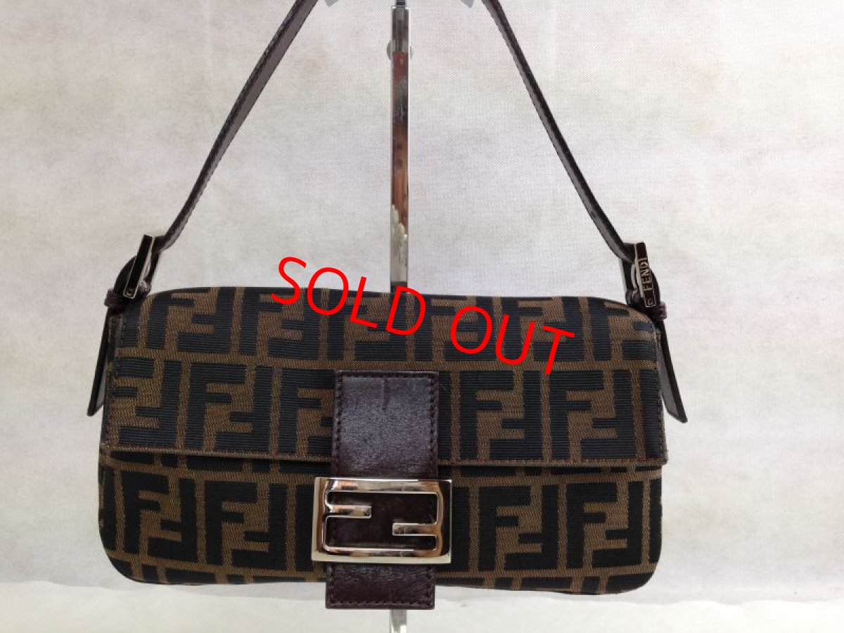 Photo1: Auth FENDI Zucca Pattern Logos Shoulder Bag Brown Made Italy 5F301320 (1)