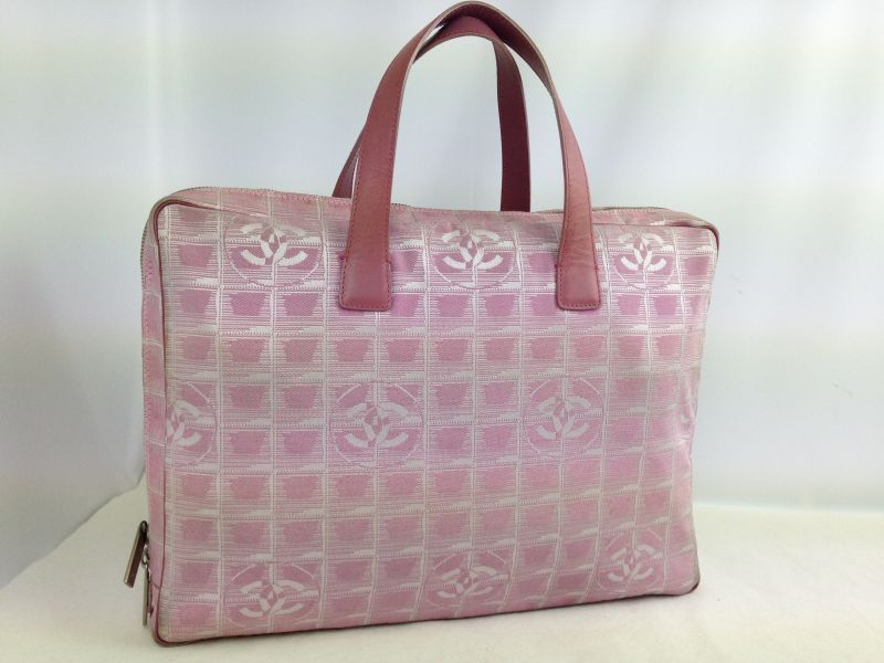 Photo1: Auth Chanel Pink Tote Bag Nylon 5L080480 (1)