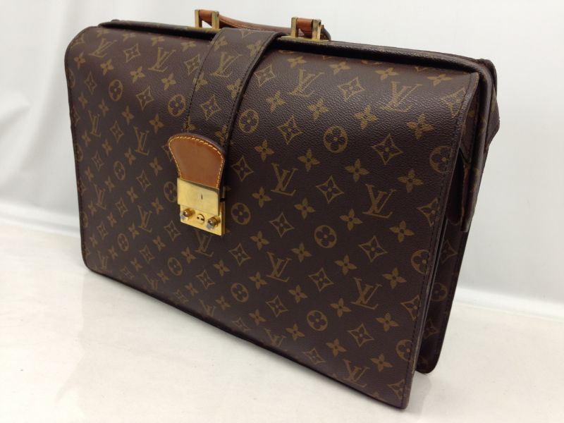 Photo1: Auth Louis Vuitton Monogram PVC Leather Briefcase Vintage 6E030060# (1)
