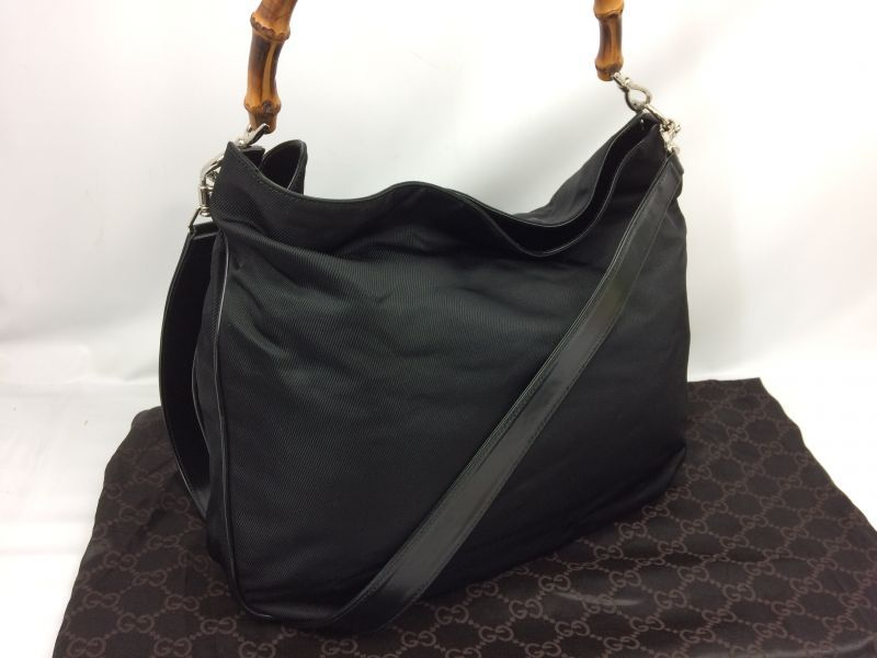Photo1: Auth GUCCI Bamboo Handle 2 way Shoulder Hand bag Black 7F120160s (1)