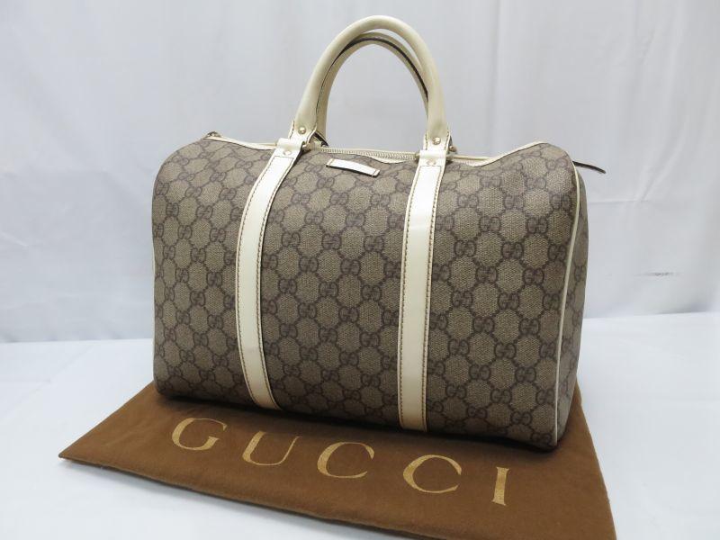 Photo1: Auth GUCCI GG Pattern PVC Brown Boston Hand Bag 8F220480m (1)