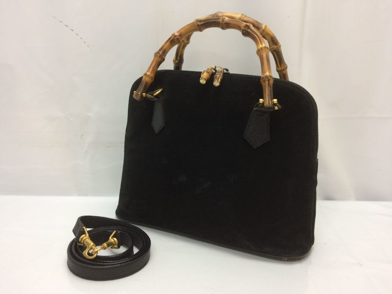 Photo1: Auth Gucci Bamboo Handle Black Leather 2 way Shoulder Hand bag  8G040550n (1)
