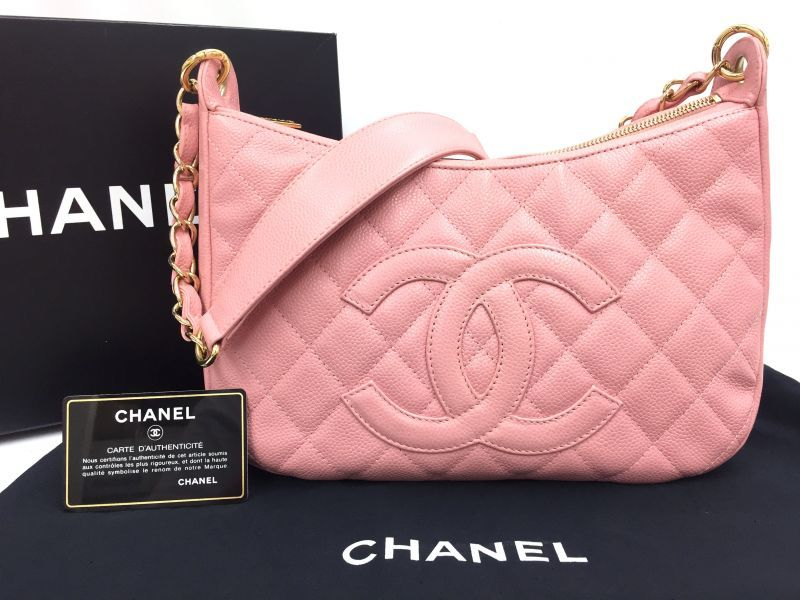 Photo1: Auth CHANEL Caviar Skin Canvas Pink CC logo Shoulder Bag 9H070130n (1)