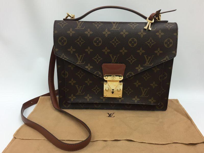 Photo1: Auth Louis Vuitton Monogram Monceau 2-Way Shoulder Hand bag 9H120020g (1)