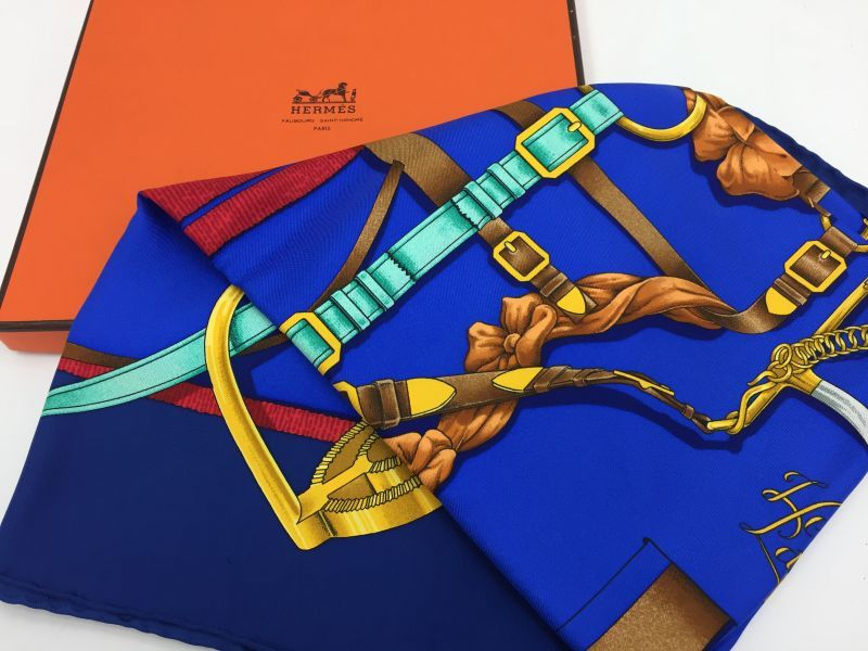 "Photo1: Auth Hermes  100% Silk Scarf  ""Grand Manage Hd' ORIGNY""  9H120240n (1)"