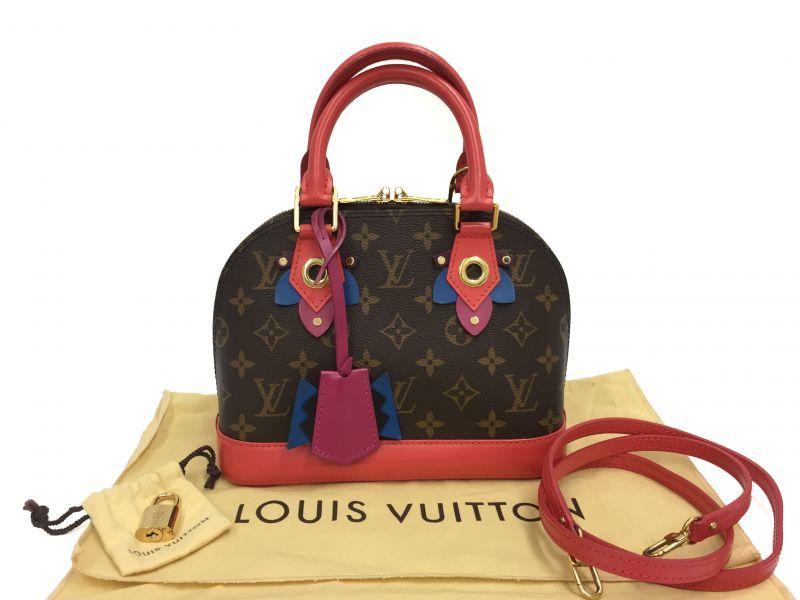 Photo1: Auth Louis Vuitton Monogram Mini Alma Flower 2 way A rank bag 9H120050n (1)