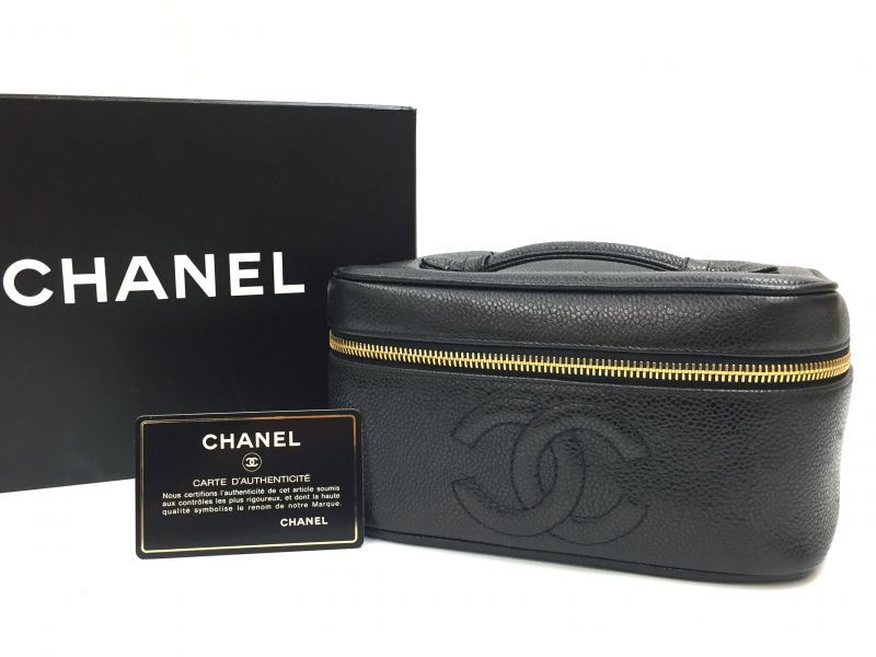 Photo1: Auth CHANEL Caviar Skin Canvas Make Up Cosmetic Porch Hand Bag 9H120180n (1)