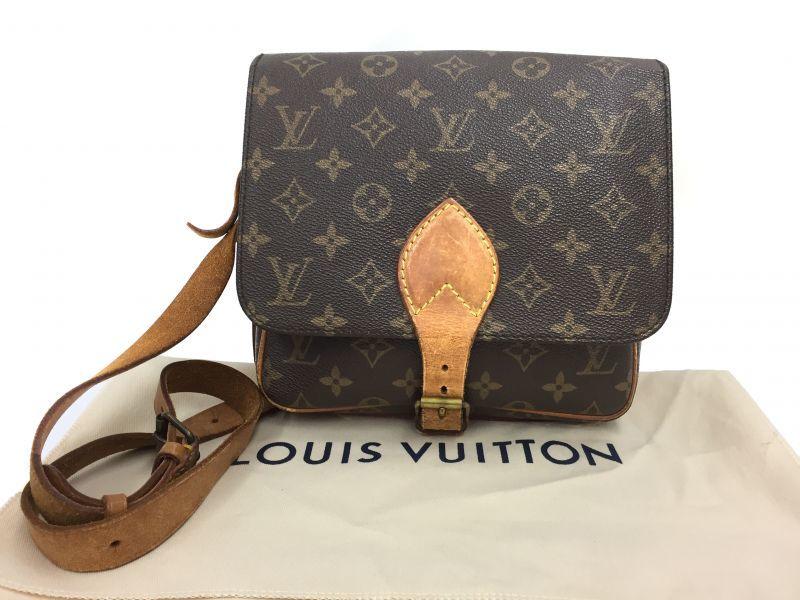 Photo1: Auth Louis Vuitton Monogram CARTOUCHIERE MM Shoulder bag Vintage 9i100080n (1)