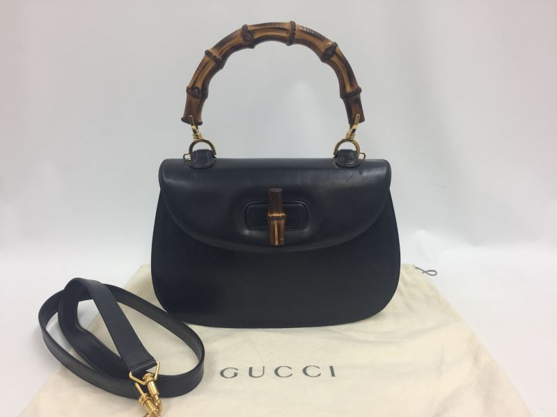 Photo1: Auth Gucci Bamboo Handle 2 way Dark Blue Leather Shoulder Hand Bag 9L050270n (1)