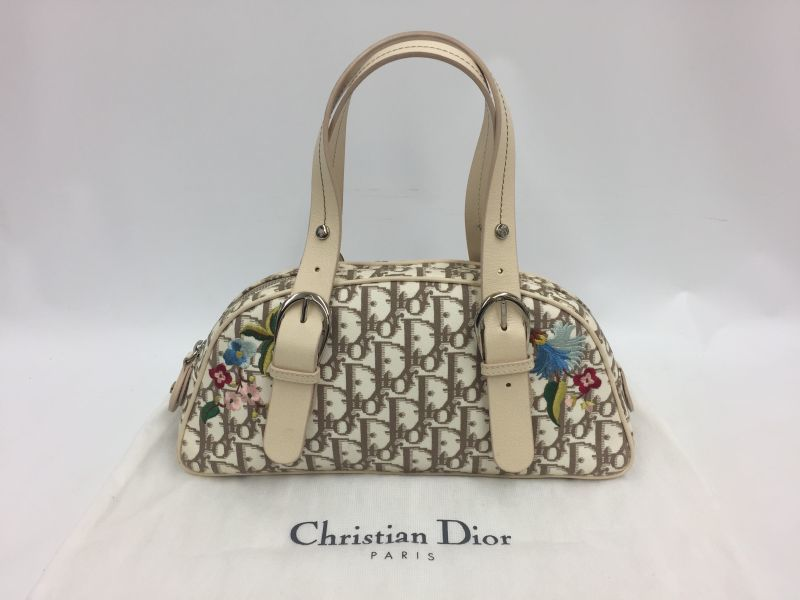 Photo1: Auth Christian Dior Trotter Pattern PVC Flower Embroidery Hand Bag 9L050230n (1)