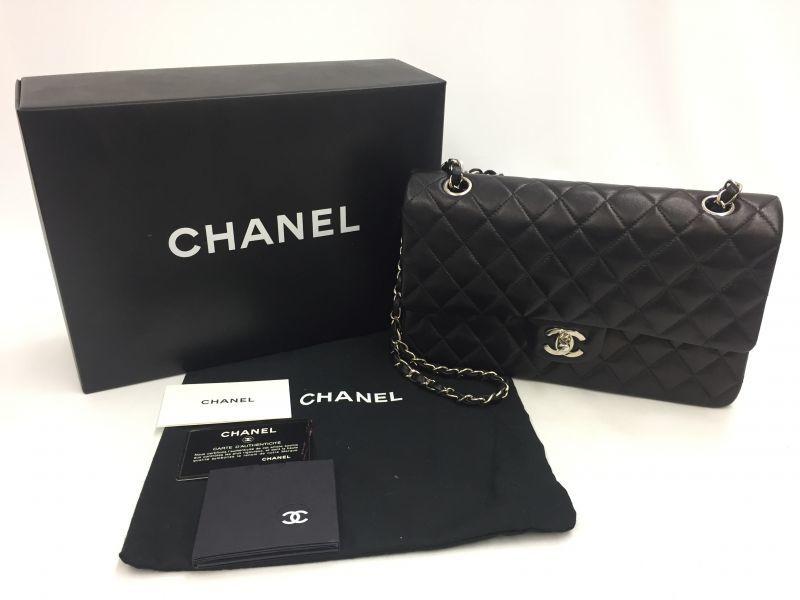 Photo1: Authentic CHANEL Lamb Skin Black Matelasse Chain Shoulder Bag 9L120110n (1)