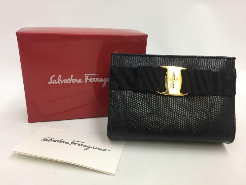 Photo1: Auth Salvatore Ferragamo Black Leather Card Coin Key Case UNUSED 9L120120n (1)