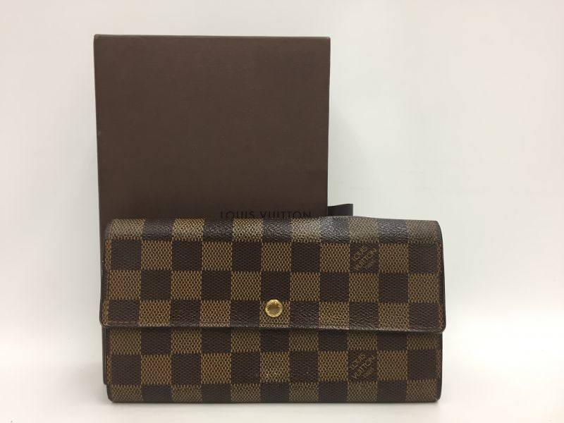 Photo1: Auth Louis Vuitton Damier Ebene Portefeuille Sarah Long Wallet 9L270140n (1)