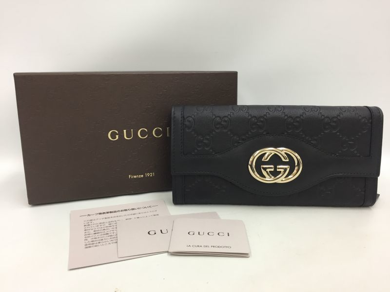 Photo1: Authentic Gucci Leather Black GG logo Long wallet UNUSED 0A280190n (1)