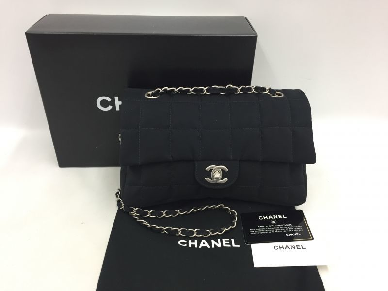 Photo1: Authentic CHANEL Nylon Leather Black Silver tone Chain Shoulder bag 0A280120n (1)