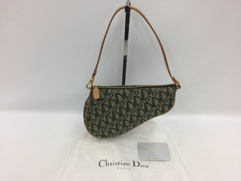 Photo1: Auth Christian Dior Hand Bag Trotter Saddle Hand Bag Green 0A280130n (1)