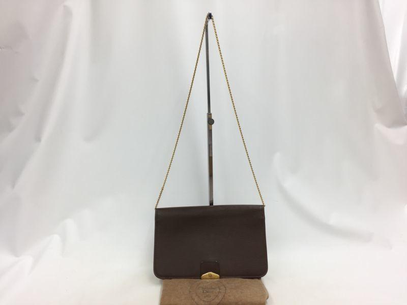 "Photo1: Auth Christian Dior Leather Gold tone Chain Shoulder bag Vintage 0C220200n"" (1)"