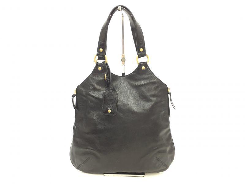 "Photo1: Auth Yves Saint Laurent Patent leather Tote Hand Bag Black Vintage 0C220080n"" (1)"