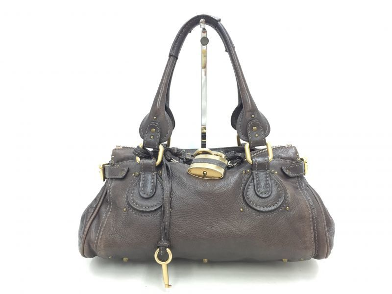 "Photo1: Auth Chloe Paddington Leather Hand bag Dark Brawn Vintage 0C220020n"" (1)"