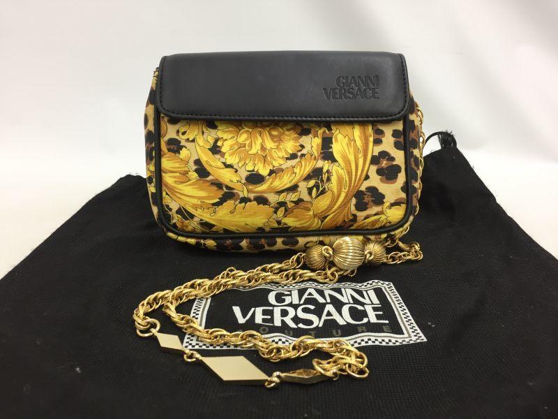 """Photo1: Auth Gianni Versace Leopard Gold tone Chain Shoulder Pouch bag 0D280080n"""" (1)"""