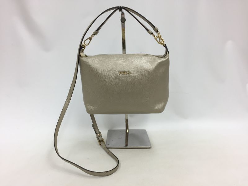 "Photo1: Auth FURLA Metallic Silver color Leather 2 way shoulder hand bag 57010417n"" (1)"