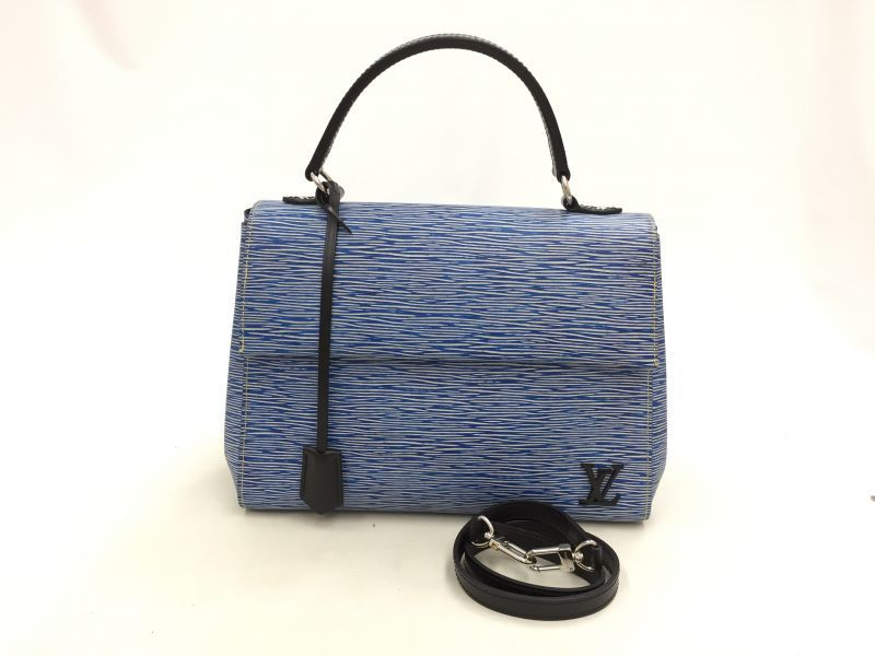 "Photo1: Auth Louis Vuitton Denim EPI Blue 2 Way Shoulder Hand Bag 0G15 200209 n"" (1)"