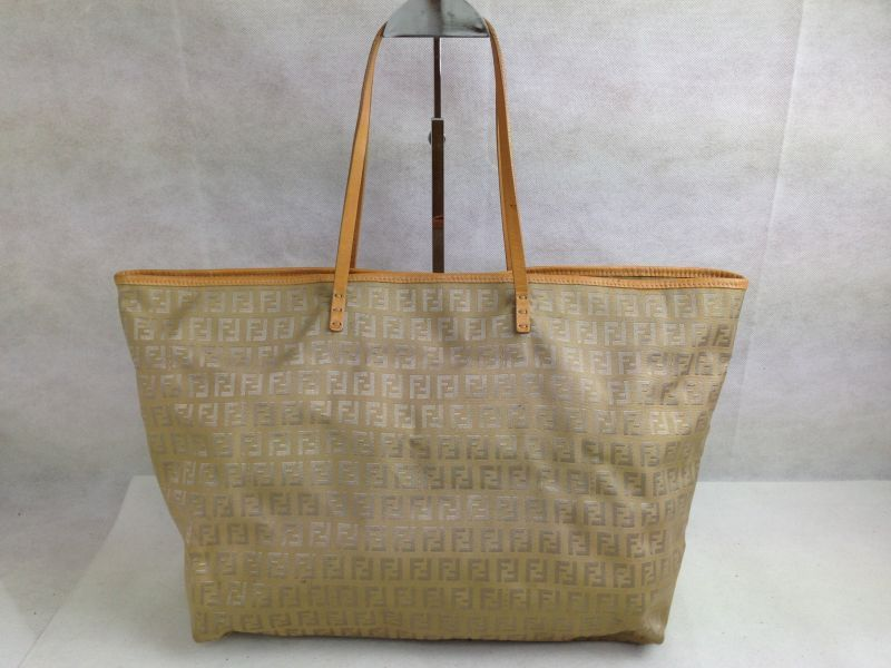 Photo1: Auth FENDI Zucca Pattern Logos Shoulder Bag Brown Canvas 5D131380# (1)