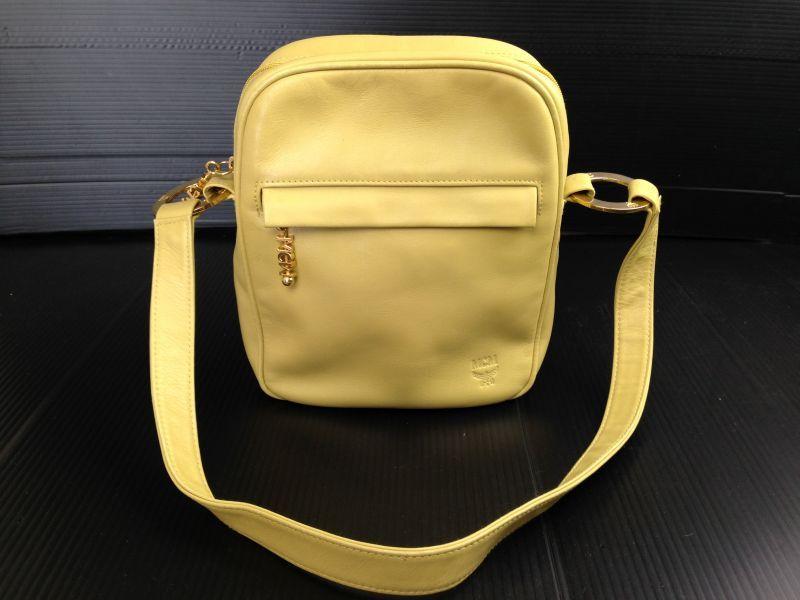 Photo1: Authentic MCM light green Leather Shoulder Bag 5E190660# (1)