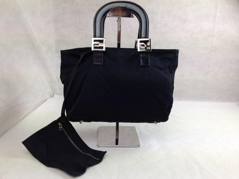 Photo1: Auth FENDI BLACK Italy Handbag 5E268013 (1)