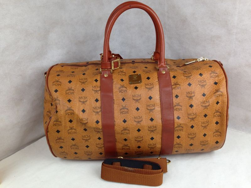 Authentic Mcm Logos Orange Leather Travel Boston Shoulder Bag 2 Way 5g210440